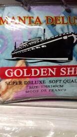 110 by 140 kids golden ship fleecy throw