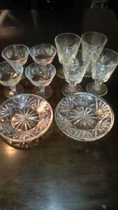 Set of 8 Antique crystal glasses and 4 plates
