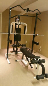 Half rack with lat pull down low pulley row Pec deck pull up