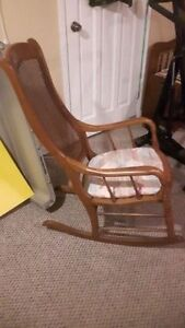 Vintage Oak and Cane Rocking Chair