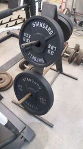 Bars and weight plates etc