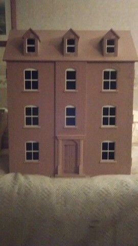 Unpainted dolls house with various furniture and accessories (Collection Only)