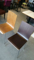MODERN WOODEN CHAIRS WITH CHROME LEGS