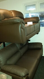 Ex-display clearance brown leather 3+2 seater sofa set