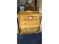 Hand made pine 4 drawer chest