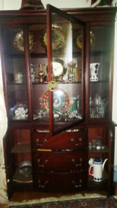 MAHOGANY WOOD CHINA CABINET, DINING TABLE & CHEST FOR SALE