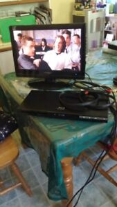 Flat screen TV and Bluray player