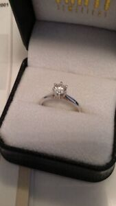 BRAND NEW .057 CT 14 karat white gold diamond ring 6.5