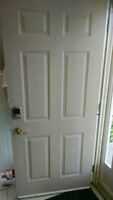 Beige Front Entry Door With Two Side Windows & Handle Set