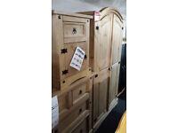 New clearance ready assembled light waxed pine wardrobe set