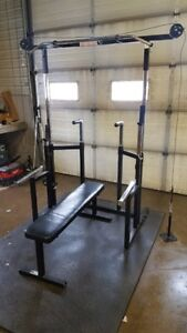Squat Rack bench press pull up cable high low pulley