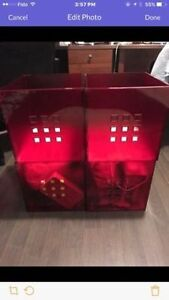 Red color IKEA media box*4