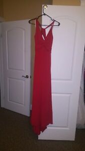 Betsy & Adam Red Evening Dress with Train