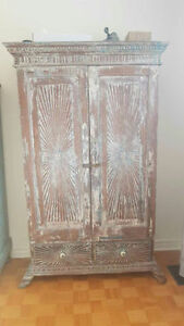 Large distressed antique armoire