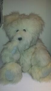 Hand made in Canada teddy bear - large - silver fox fur (coat)