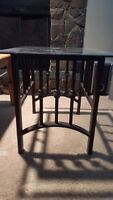Rod iron and glass side table