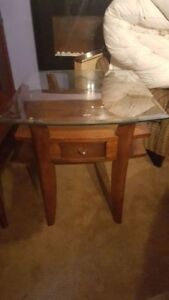 Glass top coffee and end table set with drawers