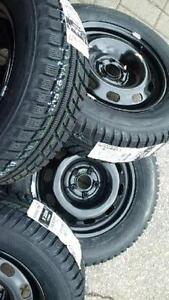 $599(TAX-IN)- NEW 195/65/R15 Evergreen snow/winter tires+ Steel rims- Civic/ Corolla/ Prius/ Mazda3/ Golf/ Jetta/ Sentra