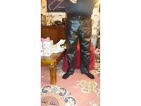 MENS LEATHER BLACK TROUSERS, FOR MOTORBIKE RIDER, SIZE 38 NEW CONDITION