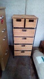 Set of battan wicker drawers