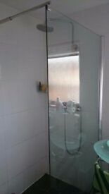 Open shower glass panel