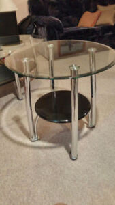Metal and glass Coffee table and living room side tables (set)