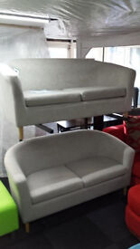 Ex-display biege/creamy 2+2 seater tub chairs soft suede fabric