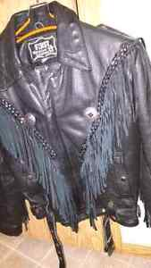 """Black leather jacket with """"Indian Motorcycle"""" conchos"""