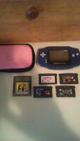 PURPLE GAME BOY ADVANCE WITH 5 GAMES AND CARRYING CASE