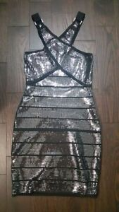 Brand new with tags Bebe Black silver sequin bandage dress small