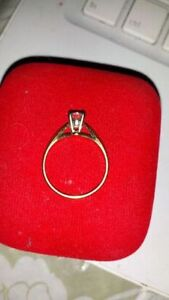 14K Y/GOLD SOLITAIRE RING SET WITH .75 CT DIAMOND