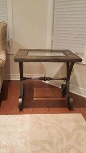 2 sides decorative side tables. Metal/Glass table