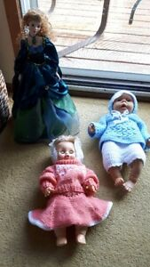 3 DOLLS , (2 Baby Dolls & 1 Adult). Custom Hand made clothes !