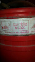 One and a half barrels of turtle wax with pump car