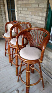 3-Rare and Classy Rattan Bar Stools in Perfect condition