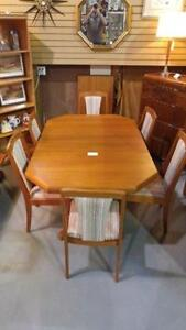 Vintage Teak Dining table and 6 chairs. ON SALE