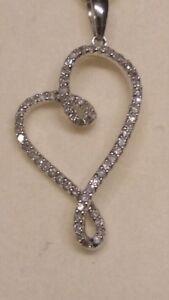 "0.25 TDW Diamond pendant ""Hanging Heart"" on 10K White gold chain"