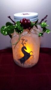 ON SALE NOW REINDEER FROSTED CANDLE HAND CRAFTED JAR Cambridge Kitchener Area image 1