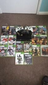 Xbox 360 Slim 250gb Black Console, 16 games, 3 controllers.