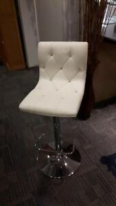 3 White Adjustable Bar Chairs - White Vinyl with studded accents