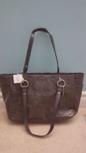 Coach dark grey leather purse-brand new with tags