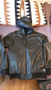 Rip Curl faux Leather jacket with hood - Medium