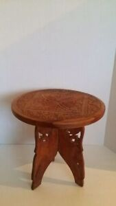 Vintage hand carved Indian inlaid wooden side table