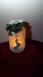 ON SALE NOW REINDEER FROSTED CANDLE HAND CRAFTED JAR Cambridge Kitchener Area image 2