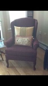 Burgundy wing back chair