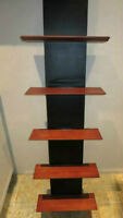 5 Level Wall Shelf Black Support Cherry Veneer Book Shelf