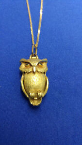 18K Gold Owl Pendant CUSTOM Made with 14kt chain
