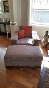Ultra Suede chair and ottoman