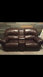 Leather two seater slider recliner EUC!!! ** price reduced**