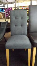 Ex-display 2x grey fabric dining chairs